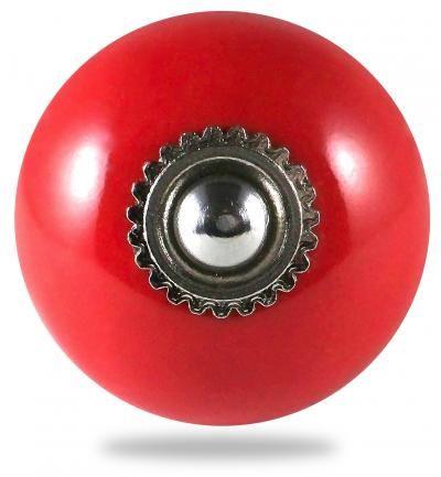 Bouton de meuble et poign�e de meuble pour porte et tiroir, pat�res, rouge, boule, uni