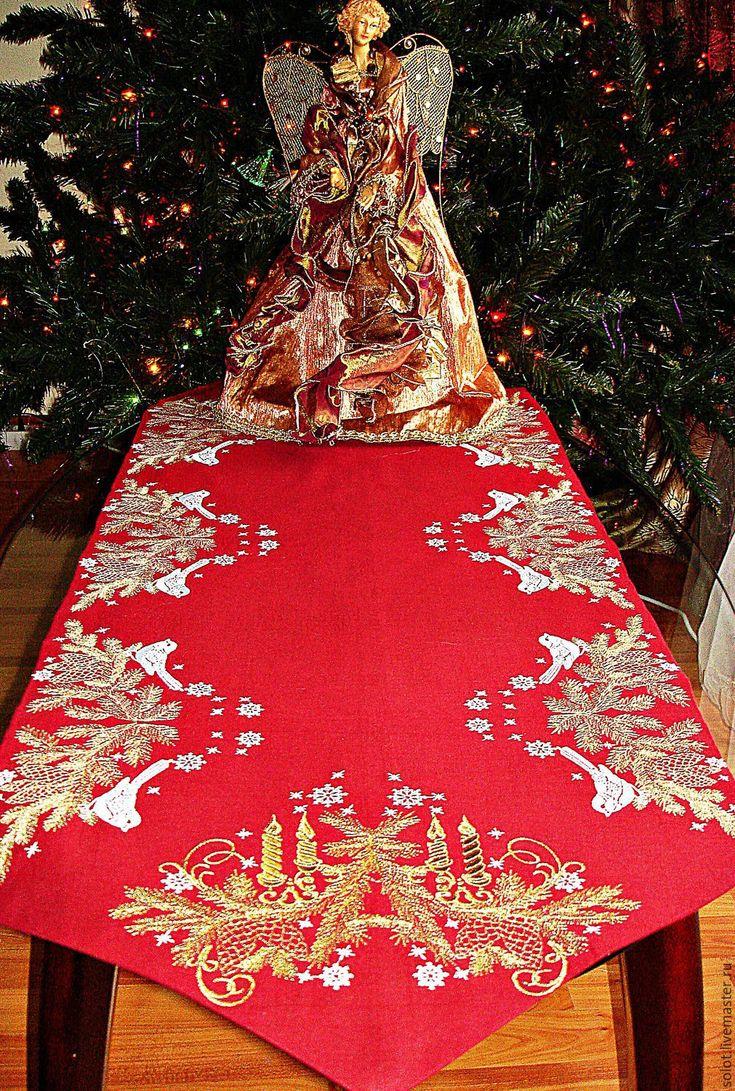 """Купить Дорожка для стола """"Новогодняя """" - Машинная вышивка, машинная вышивка на заказ, вышивка на заказ"""