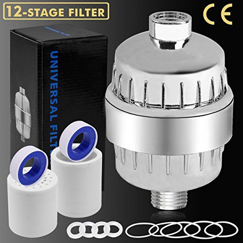 12-Stage Shower Filter Water Purifier Hard Water Softener with Replacement Cartridges, Fit Most Shower Head and Handheld Shower, Remove Chlorine Fluoride Heavy Metals for Hair & Skin Health - Why do people choose our shower water filter? ✔ IMPROVED 12-STAGE: The shower water softener contains KDF55, calcium sulfite, activated carbon, ceramic balls and other filtering materials. All these optimizes physical filtration as well as chemical filtration. Our shower filter will ensure...