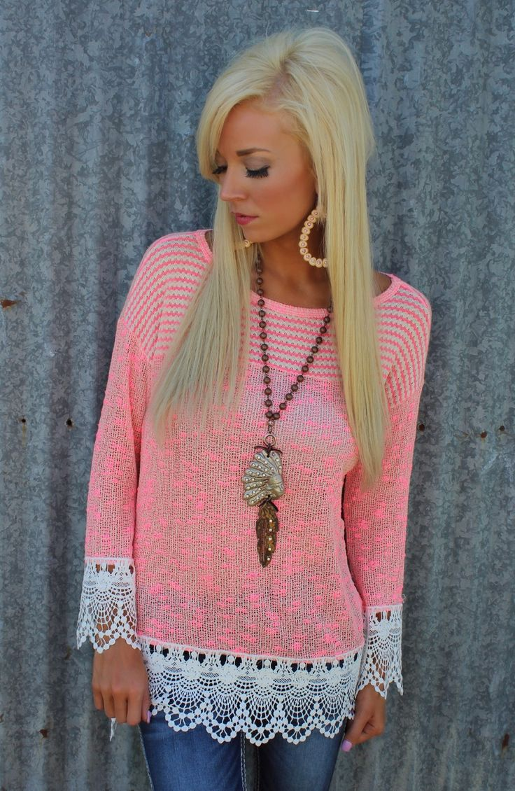 Neon Pink and Ivory Crochet Trim Tunic - The Lace Cactus