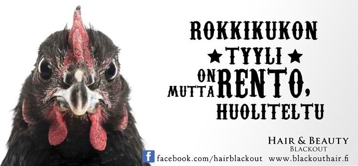 Hair Salon ad:  Rock cock is laid back but stylish.  Rokkikukon tyyli on rento, mutta huoliteltu.  #hair #hairsalon #ad #ads