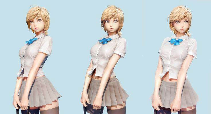 flcl38 on ZBC |  Smile SchoolGirl        I created a girl wearing a cute school uniform      the basemodel was made in 3dsMax and the detail was made in Zbrush      hope you enjoy~