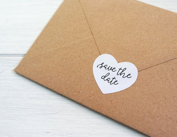 Save The Date Heart Stickers Labels Wedding Invitation Envelope Seals / 1.5  Inch Heart Stickers By