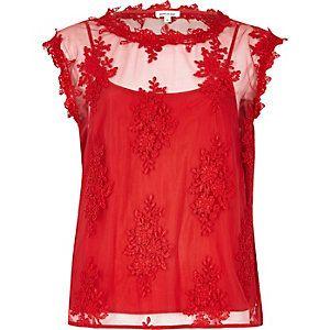 Red floral applique top
