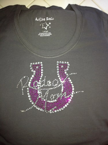 Grey Rhinestone Rodeo Mom with Horseshoe Vneck Fitted Knit Tee | MissPhiesBoutique - Clothing on ArtFire @Janiece Odom