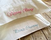 Embroidered PillowCases Sleeping Beauty and Prince Charming Standard - 100% Organic Cotton