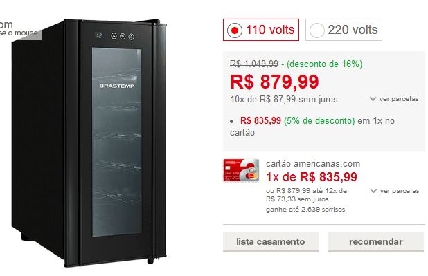 Adega Climatizada Brastemp Wine Cooler BZC12 All Black 12 Garrafas << R$ 75239 >>