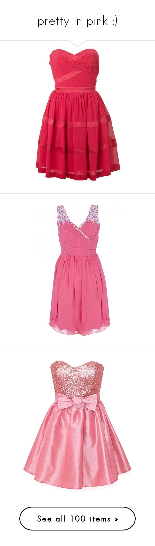 """""""pretty in pink :)"""" by herrroool ❤ liked on Polyvore featuring dresses, vestidos, short dresses, sukienki, mini dress, mini prom dresses, red prom dresses, red dress, red cocktail dress und chiffon prom dresses"""