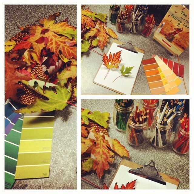"""An invitation, by Heidi Theis, to explore warm & cool colours after reading 'The Fox and the Falling Leaves' - image shared by Joanne Babalis ("""",)"""
