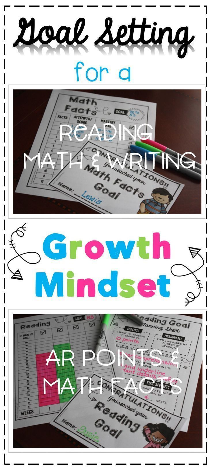 Have you implemented goal setting for students in your classroom? Too intimidating? No worries, Goal Setting for a Growth Mindset takes care of the planning and progress monitoring for you! Just print these goal worksheets and they are ready to go! Reading, writing, and math goal setting included AND cute goal achieved certificates to celebrate with! Click here to see more!