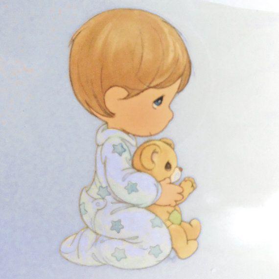 Precious Moments Baby Boy | Iron on aplique / Precious Moments/ baby boy praying by PinkyRoo