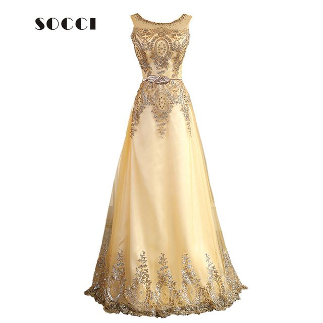 2016 Tulle Lace Muslim Gold Evening Dress Long Beading Formal gown Prom Embroidery Robe de Soiree Mother of the Bride Dresses