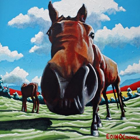 """Horsing around""  80cm x 80cm acrylic on fat canvas www.eoinoconnor.com"