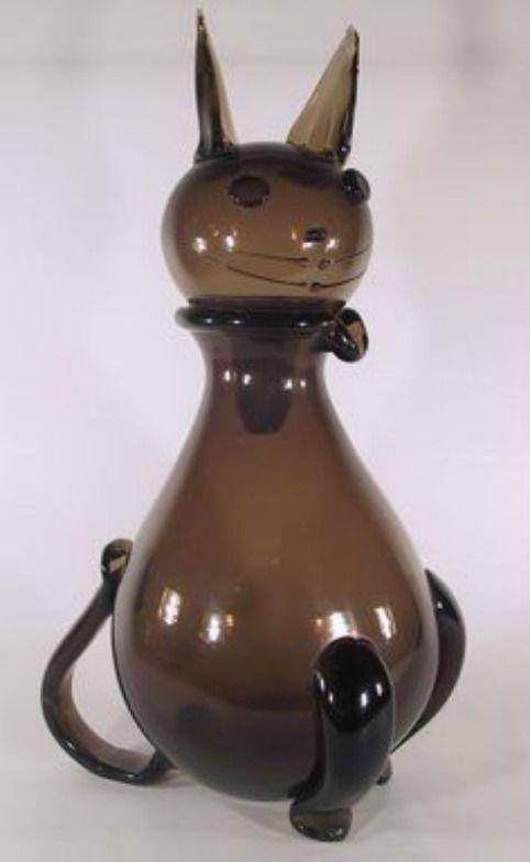 Винтаж 1950s очень редкая Выдувались вручную, большой кот графин итальянский художественное стекло | eBay