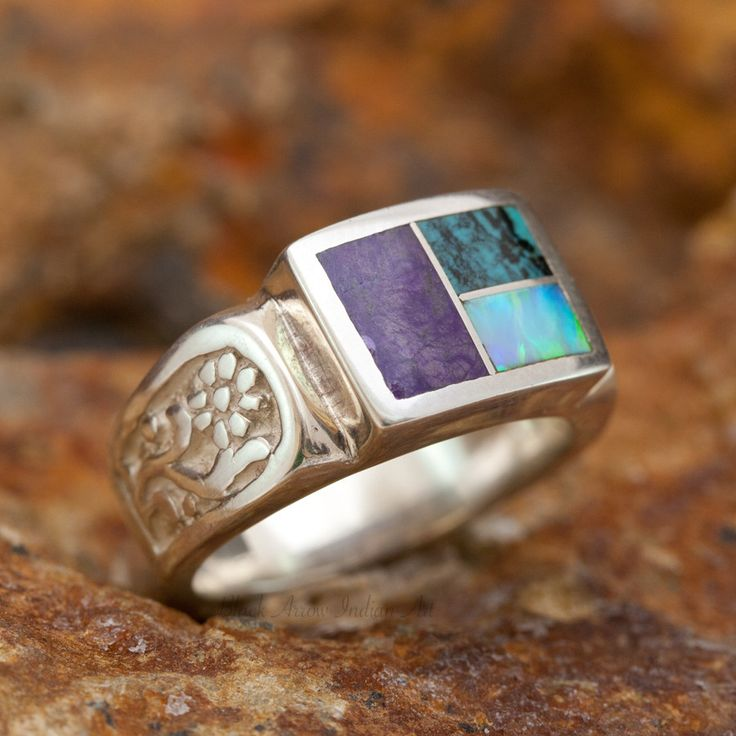 David Rosales Shalako Flower Inlaid Sterling Silver Ring
