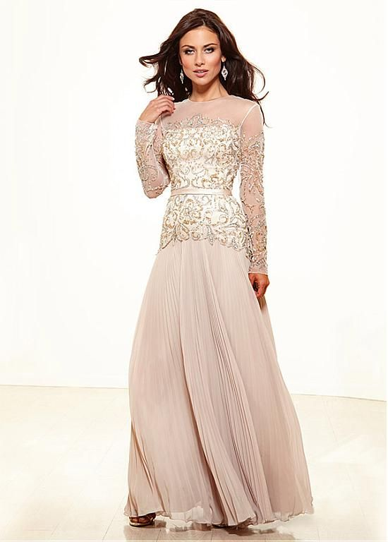 Elegant Chiffon A-line Jewel Neckline Full-length Long Sleeves Mother of the Bride Dress