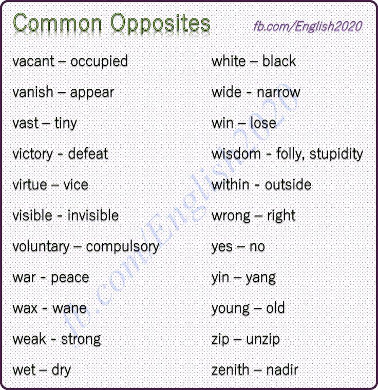 Common Opposites