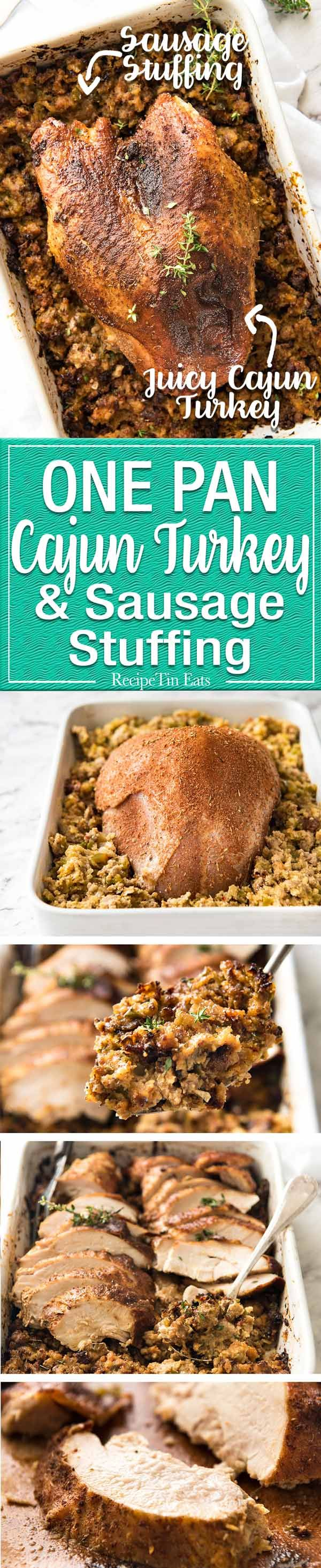 This Cajun dry brined turkey breast is baked in the same roasting pan as the Dressing / Stuffing so it's extra juicy and moist! A chef recipe, this Cajun Baked Turkey Breast with Dressing is easy and spectacular. EPIC ONE PAN COOKING for a Thanksgiving turkey! www.recipetineats.com