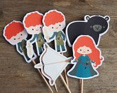 Brave Princess Party - Set of 12 Merida Cupcake Toppers by The Birthday House. $6.00, via Etsy.