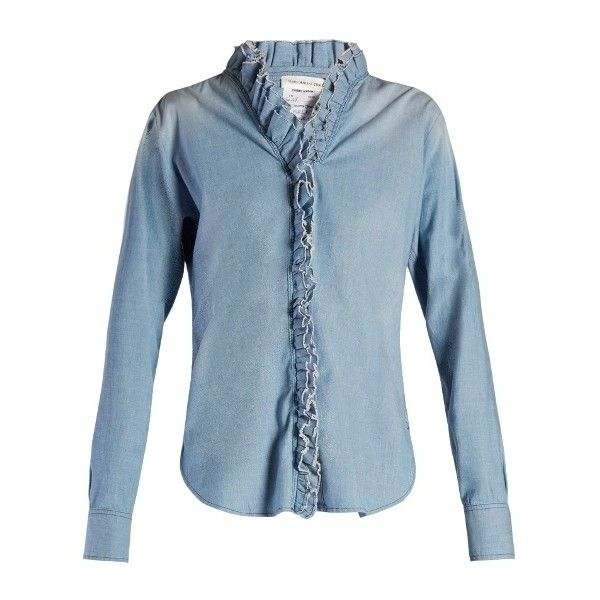 Isabel Marant Étoile Awendy ruffled chambray shirt found on Polyvore featuring women's fashion, tops, ruffle shirt, chambray short-sleeve shirt, short shirts, blue chambray shirt and tiered top