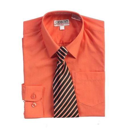 Coral Button Up Dress Shirt Black Striped Tie Set Boys 16