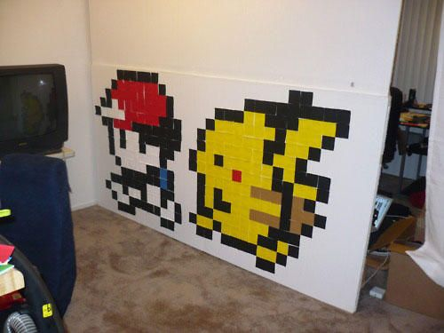 post-it note art. Temporary art! pikachu