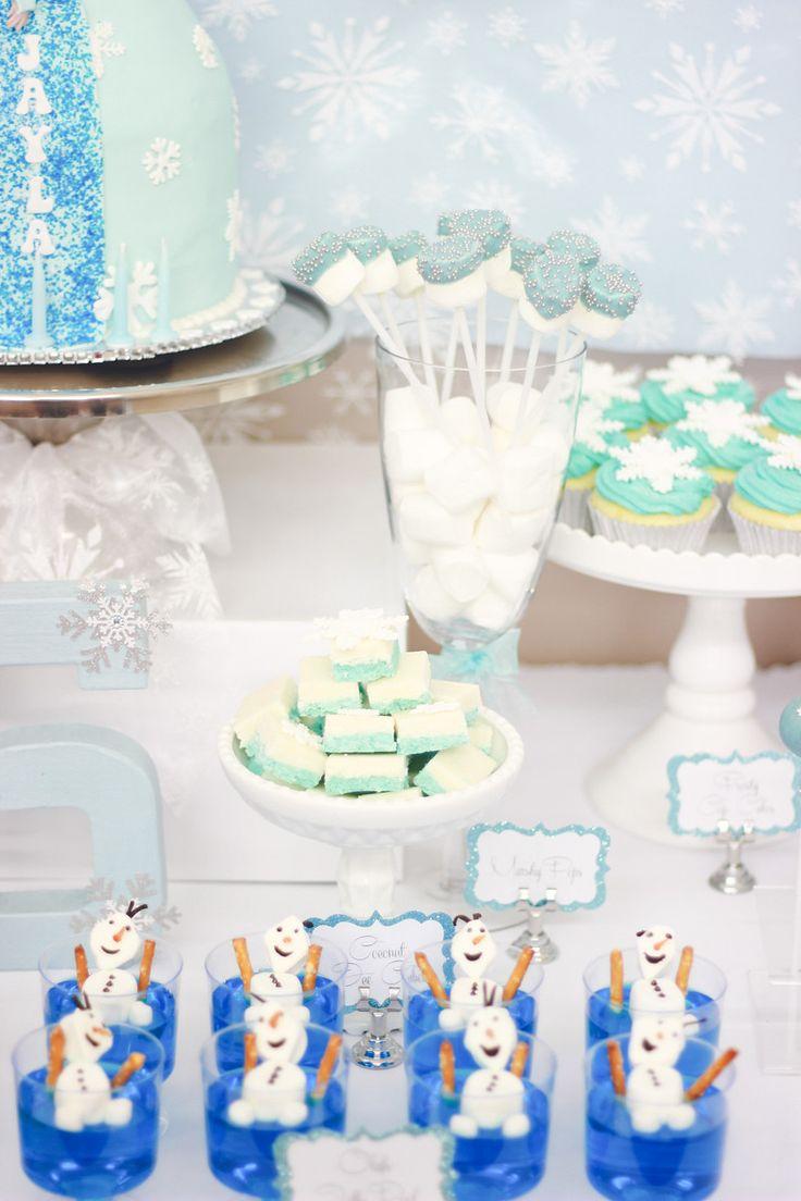 Frozen Theme - Huda Salman Photography #FrozenCandyBuffet #Frozen #CoconutIce #MarshmallowPops #SnowflakeCupcakes #OlafJellyPool