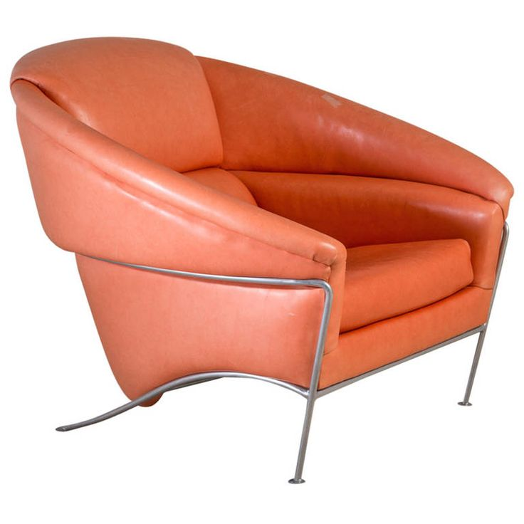 A Rare Large Thayer Coggin Leather And Steel Armchair 1980s