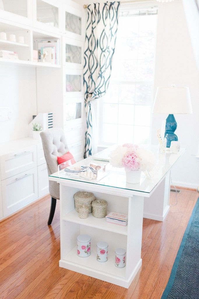 Clean, Sleek Office Tour with Lacoya Heggie - Loving the side shelving on the desk for storage and organization
