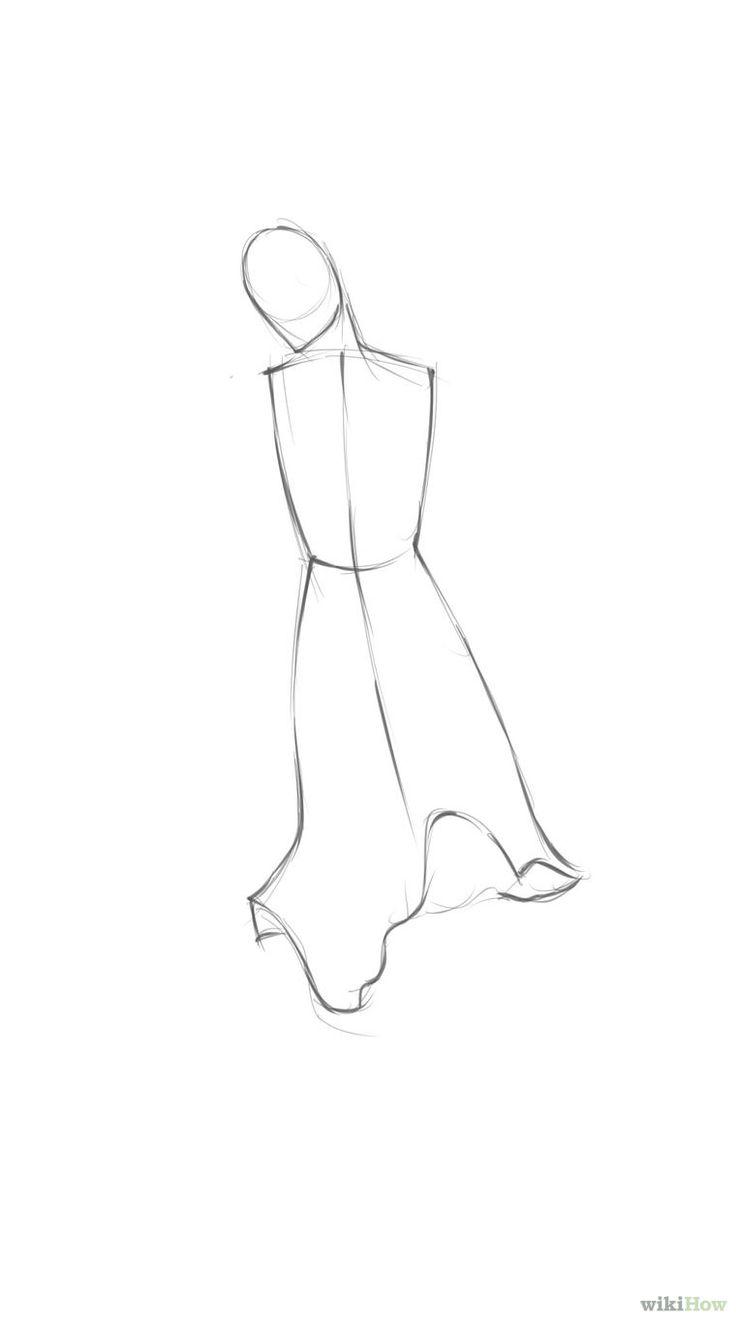 White dress drawing - Head Neck And Long Dress Step 01 Jpg
