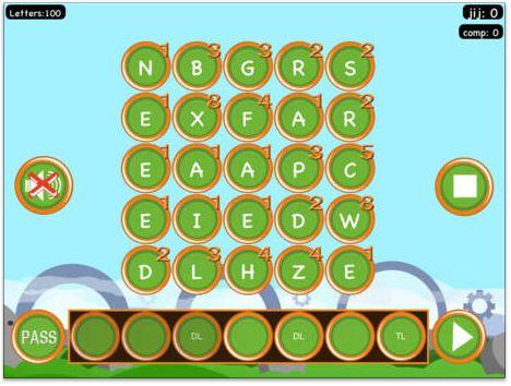 APP WOORDENMAKER: Scrabble op kinderniveau. Kinderen moeten woorden maken met de letters die op het scherm verschijnen. Leggen ze een letter op DL of TL dan krijgen ze dubbele of driedubbele punten voor deze letter.