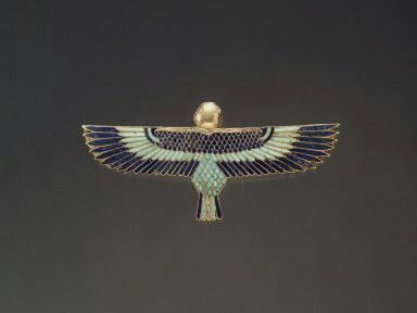 Gold, lapis lazuli, turquoise and steatite amulet in the form of a Ba as human-headed bird. 26th dynasty or later. 305-30 B.C.E.   Brooklyn Museum