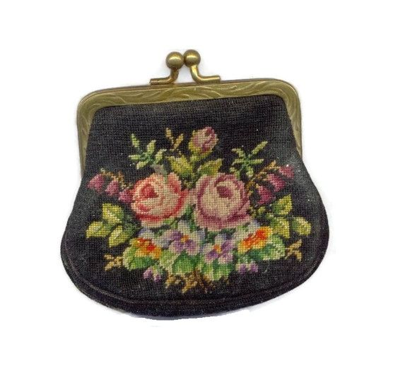 Victorian Petit Point Change Purse Vintage Needlepoint Roses