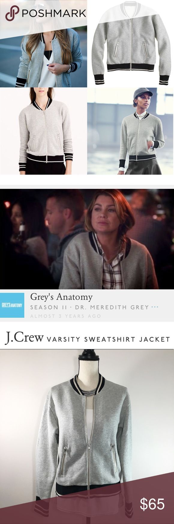 """🔲J. Crew Varsity Gray Black Zip Sweatshirt Jacket J. Crew Varsity Sweatshirt Jacket - Sold Out Online & In-Store  Color: Heather gray with black & white striped trim  Part cozy sweatshirt, part varsity jacket, it's the perfect layer for those weird in-between weather days. Slightly loose fit. Body length: 24"""", Bust: 40"""". Cotton/poly/tencel lyocell. Split kangaroo pockets. Machine wash.   As seen on TV, worn by Dr. Meredith Grey on Grey's Anatomy.  *Nice used condition, minimal wear, slight…"""