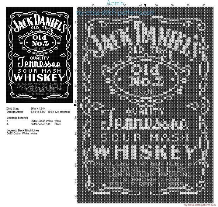 La bouteille de whisky Jack Daniels grille point de croix 86 x 124 2 couleurs DMC