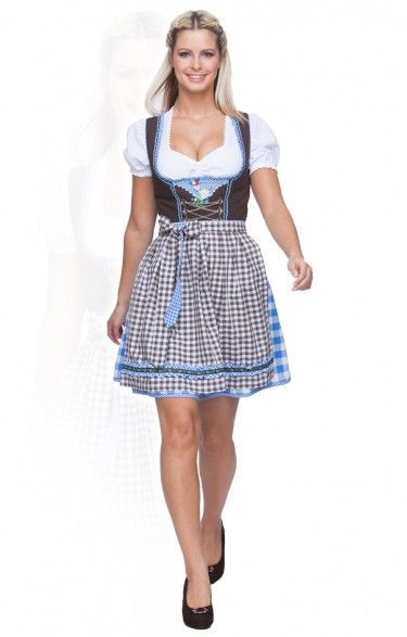 German mini dirndl 2pcs. - Flower - azure 50cm