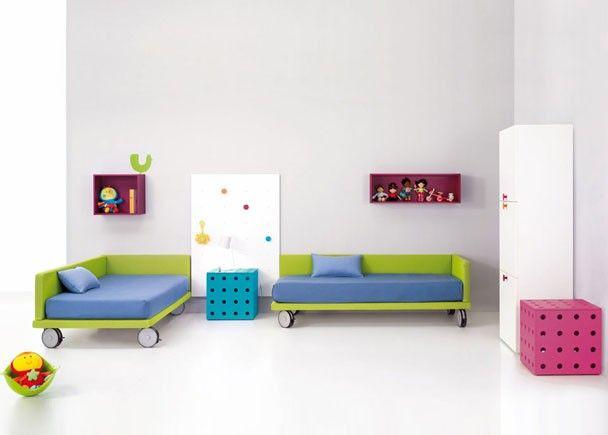 Habitación Infantil 2 Camas tarima tapizadas