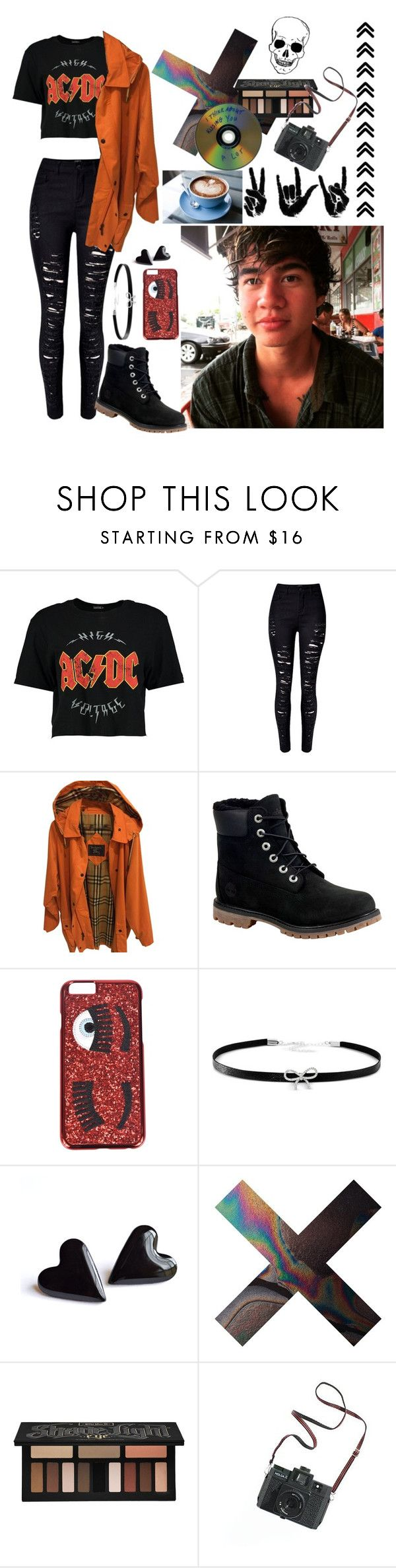 """""""Rainy Coffee Date with Cal"""" by avery-walpole ❤ liked on Polyvore featuring Boohoo, WithChic, Burberry, Timberland, Chiara Ferragni, Giani Bernini, Kat Von D and Madewell"""