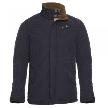 A soft navy cotton padded Magee jacket. Features include, metal zip and stud button closing, deep handwarmers with polar fleece lining, cord elbow patches, single chest pocket, working neck tab, removable hood and side vents.