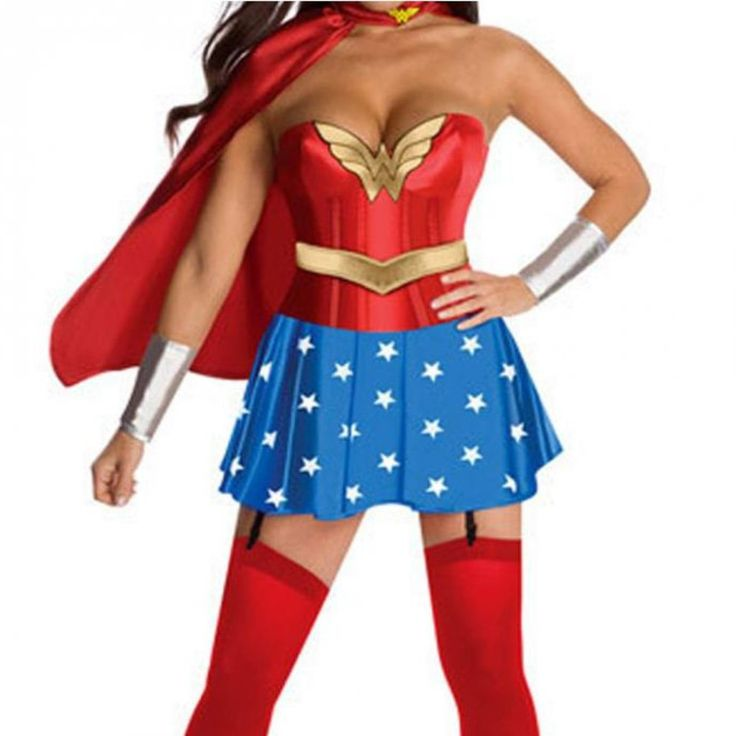 Feels like the real super woman with this super sexy costume. This dress comes with strapless top with heart shape neckline, gold trim, red bodice and blue star pleated skirt with stocking strap. Craf