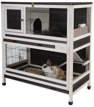 Small Pet Cage Indoor Lounge 2 Storey Wooden Rabbits or Guinea Pigs hutch Accessible via multiple cage doors. Wishing for blossom