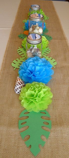 Use pink/orange for flowers and remove shells - could work for centerpieces for the dessert social.
