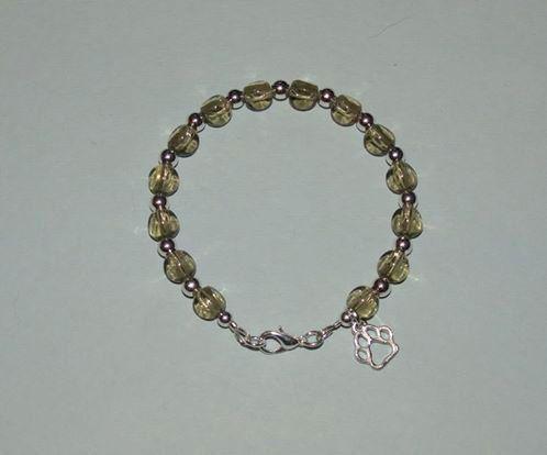 Triangle Glass Beaded Paw Print Bracelet by PawInspiredCreations