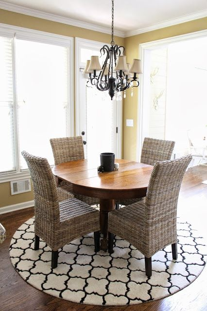 Loving The Rug Chandelier And Those Chairs TiffanyD Round KitchenKitchen RugKitchen TablesDining TableNook