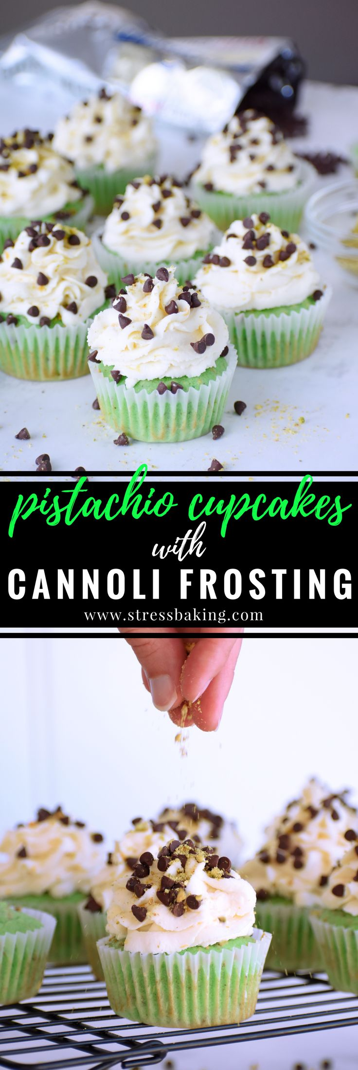 Pistachio cupcakes with cannoli frosting: Gorgeously green, light, fluffy pistachio cupcakes topped with a creamy cannoli frosting with hints of orange and lemon zest and mini chocolate chips!