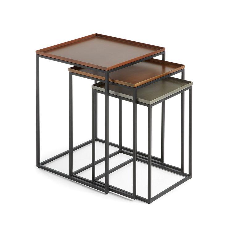 Great lot de tables gigognes cuivre zinc et laiton toby for Plaque de zinc pour recouvrir un meuble