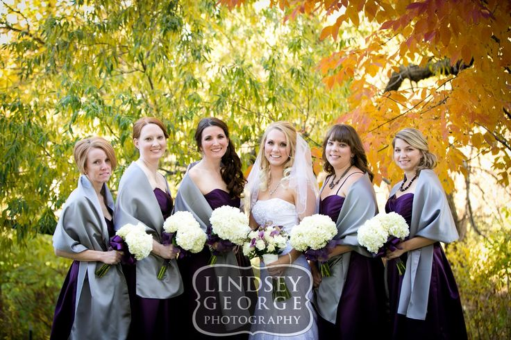 Fall wedding bridesmaids photos deep purple dresses with grey shawl click to view full gallery outdoor wedding A View West Omaha Nebraska