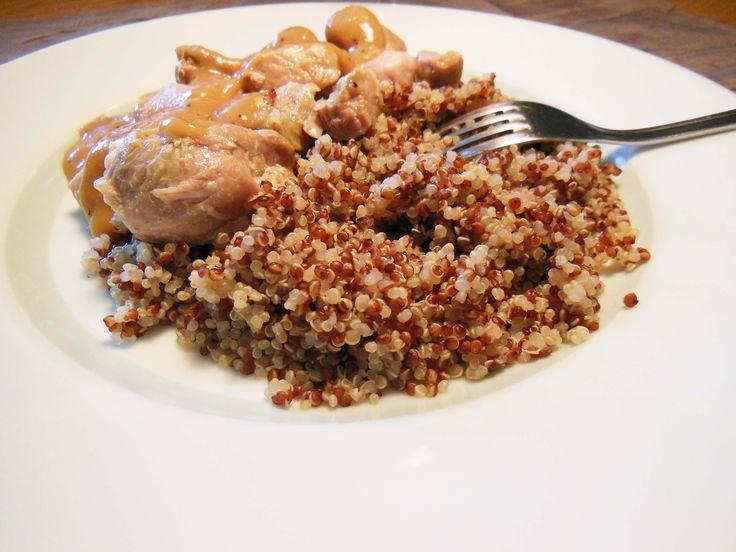 Sauté de dinde sauce au poivre et quinoa