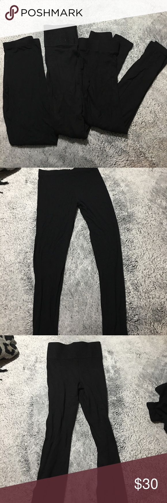 Topshop legging bundle All are in great condition with no fading. All three are different styles. One thin pair, one thicker pair, and one high waisted. Topshop Pants Leggings