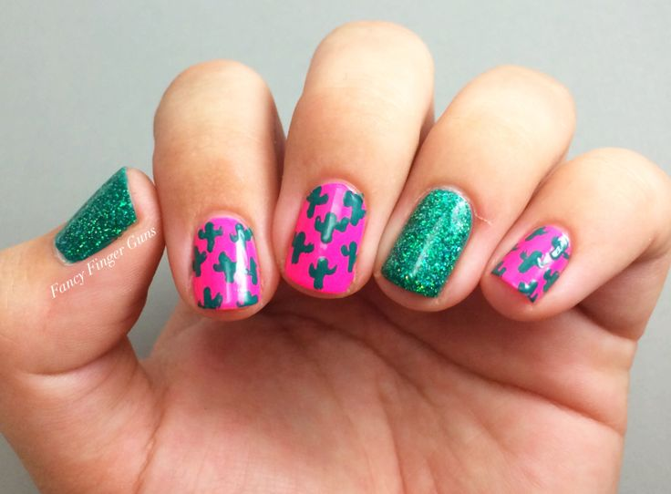 Neon cactus nails (plus some sparkle!) for the Kacey Musgraves concert at The Wiltern! Pop over to the blog for full details--> fancyfingerguns.wordpress.com